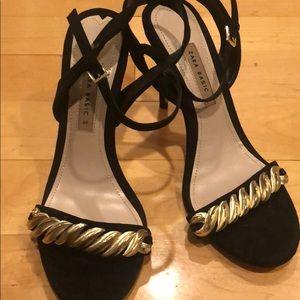 Zara velvet and gold sandal heels